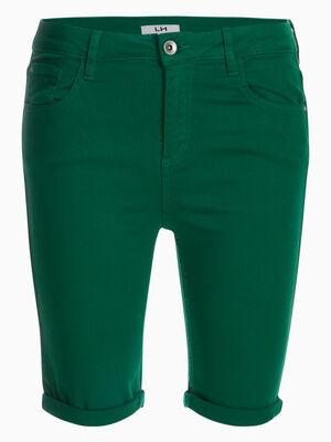 Bermuda 5 poches uni vert femme