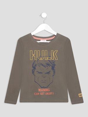 T shirt manches longues Hulk vert kaki garcon