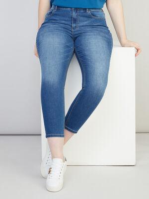 Jean slim cropped 5 poches denim double stone femme