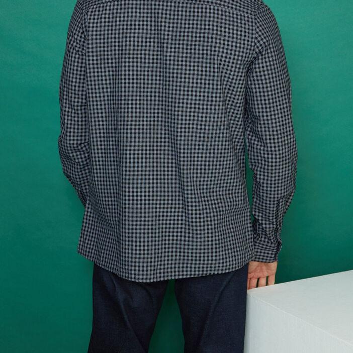 Chemise à carreaux en coton homme gris