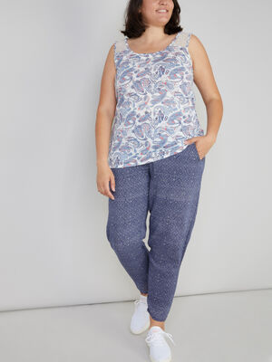 Pantalon imprime taille smockee bleu femmegt