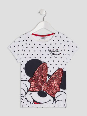 T shirt manches courtes Minnie blanc fille