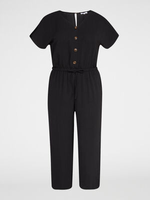 Combinaison pantalon unie grande taille noir femmegt