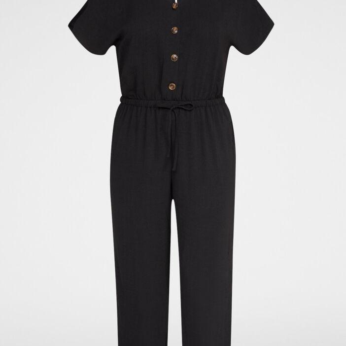 Combinaison pantalon unie grande taille femme grande taille noir