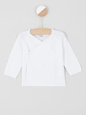 Gilet croise en coton uni blanc garcon