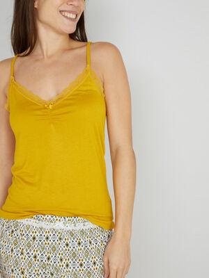 Haut de pyjama caraco dentelle jaune moutarde femme