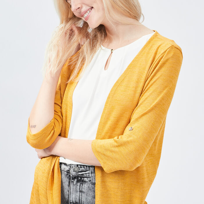 Gilet manches 3/4 femme jaune moutarde