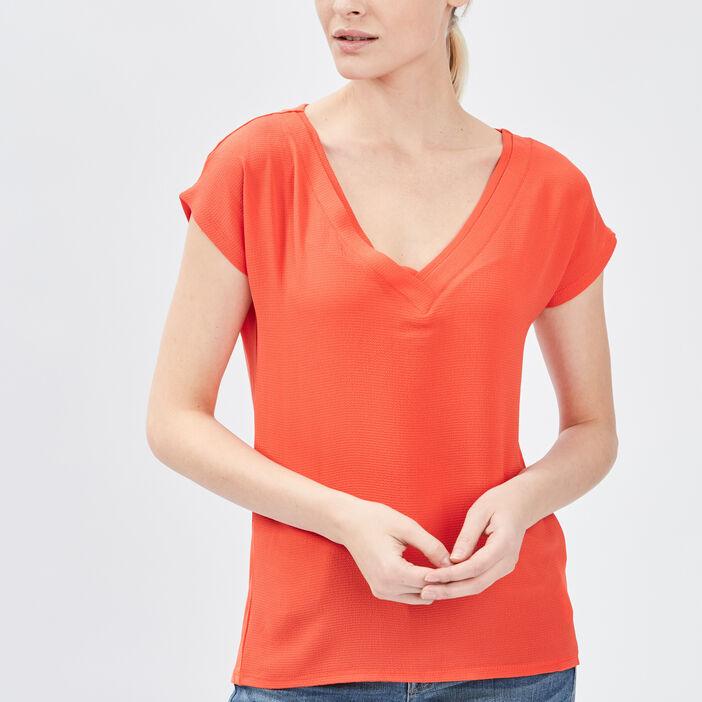 T-shirt manches courtes femme orange