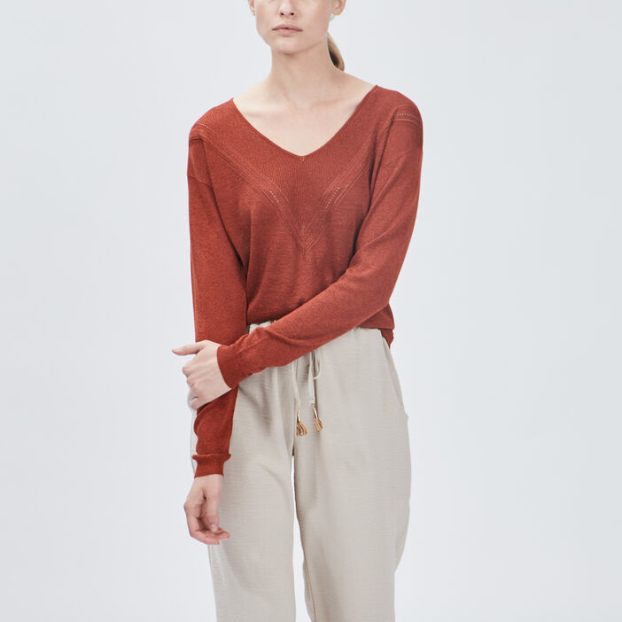 Pull manches longues femme terracotta