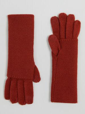 Paire de longs gants orange fonce femme