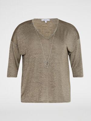 T shirt brillant collier fantaisie couleur bronze femme