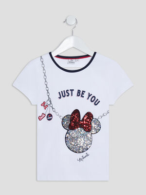 T shirt manches courtes Minnie blanc fille