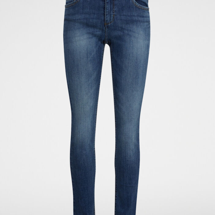 Jeans straight taille basse femme denim double stone