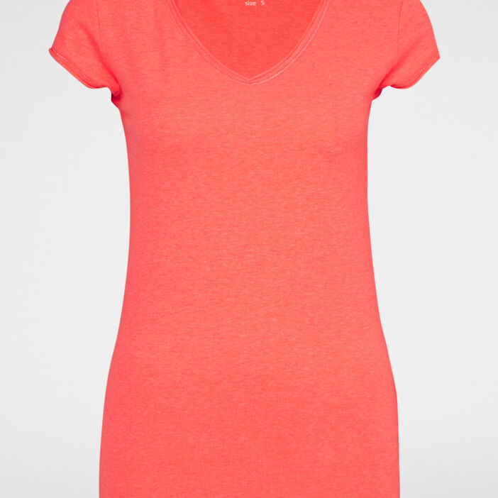 T-shirt uni col rond femme orange corail