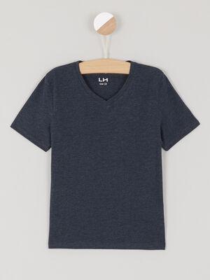 T shirt avec col en V bleu garcon