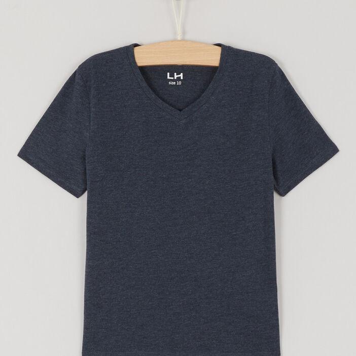 T-shirt avec col en V garçon bleu