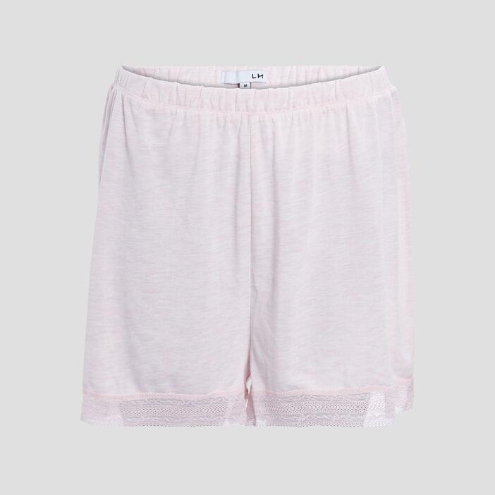 Short de pyjama avec dentelle femme rose