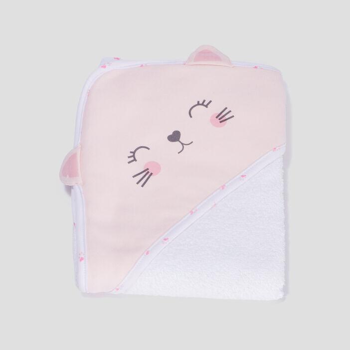 Sortie de bain bébé fille rose clair