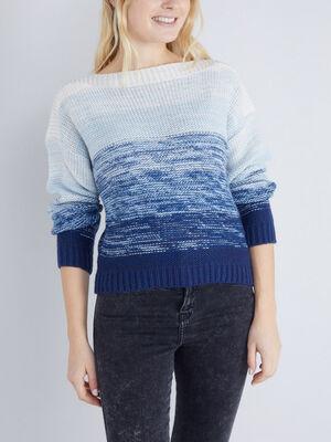 Pull tricot col bateau bleu marine femme
