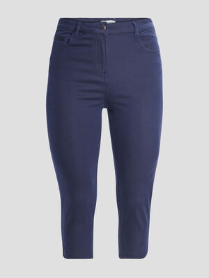 Pantalon corsaire slim bleu marine femme