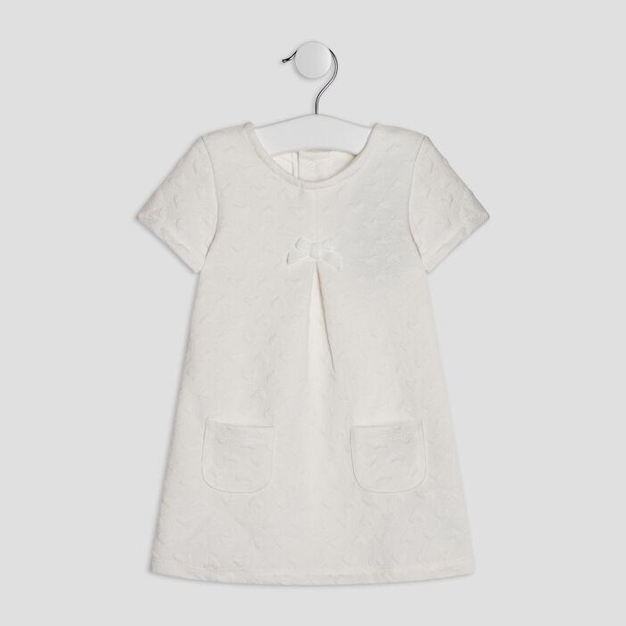 Robe trapèze à manches courtes bébé fille ecru