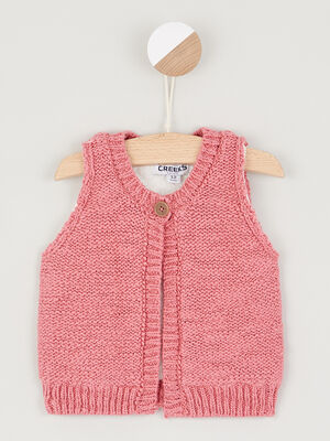 Gilet coton majoritaire double rose framboise bebef
