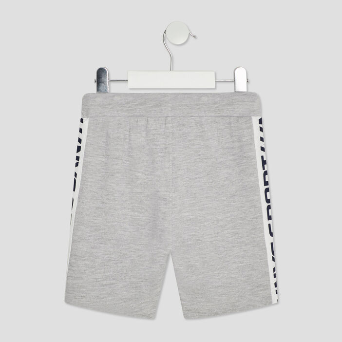 Short jogging droit à bandes garçon gris