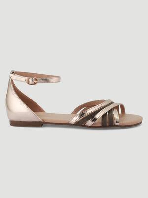 Sandales metallisees talon plat couleur or femme