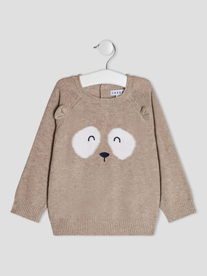 Pull a col rond Creeks beige bebeg
