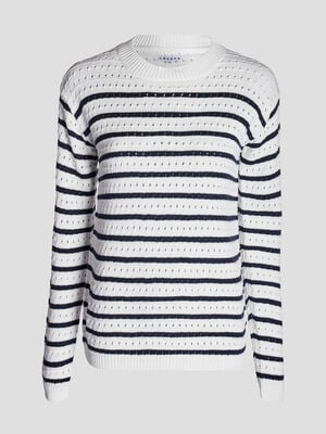 Pull manches longues ajoure bleu marine femme