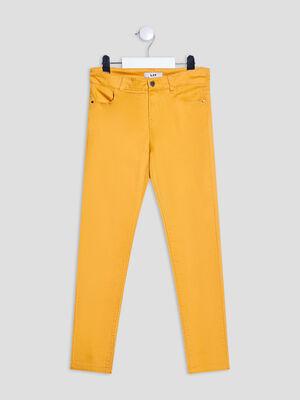 Pantalon droit satin de coton jaune moutarde fille
