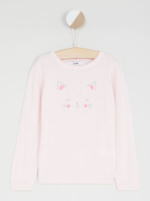 Pull chat brode rose clair fille