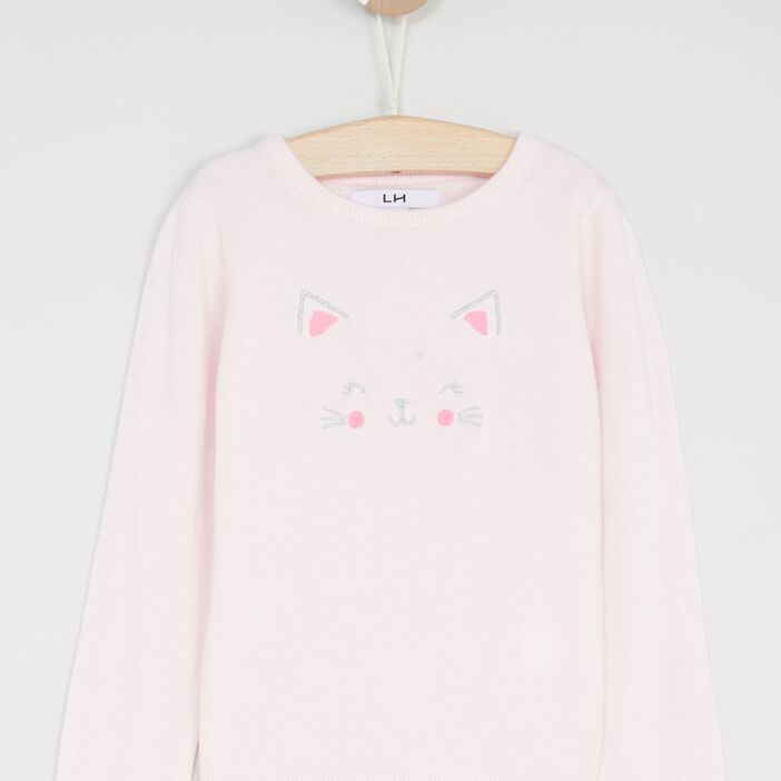 Pull chat brodé fille rose clair