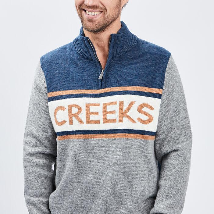 Pull à col montant Creeks homme gris clair