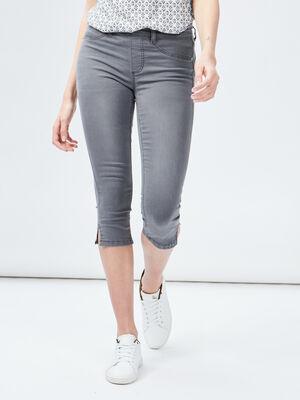 Pantacourt skinny en jean gris femme