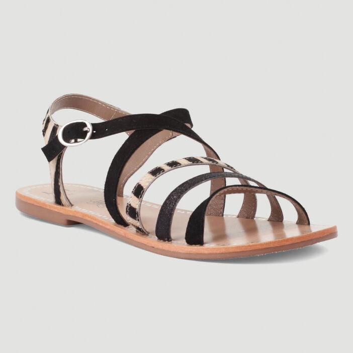Sandales cuir zébrées femme noir