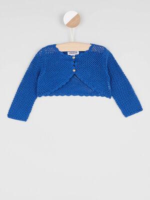 Bolero en coton bords festonnes bleu marine bebef