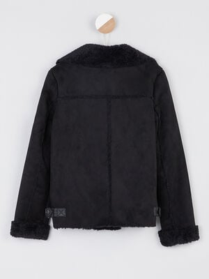 Manteau zippe interieur fourre noir fille