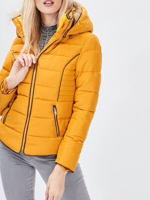 Doudoune cintree a capuche jaune moutarde femme