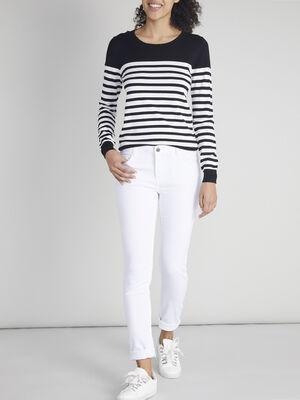 Pantalon skinny uni blanc femme