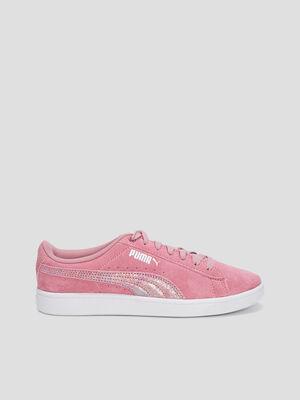 Tennis en cuir Puma rose fille