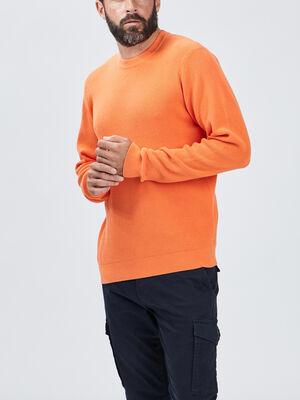 Pull avec col rond orange homme