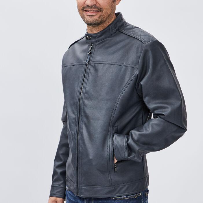 Veste droite zippée homme bleu