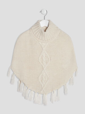 Poncho col roule beige fille