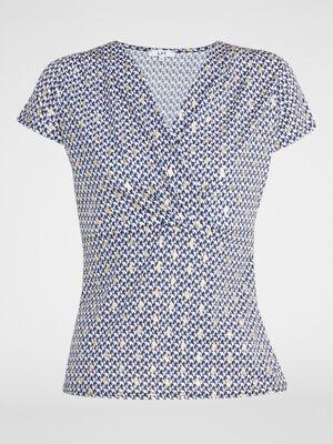 T shirt imprime decollete cache coeur bleu marine femme