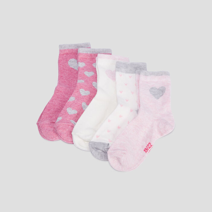 Lot 5 paires chaussettes bébé fille rose
