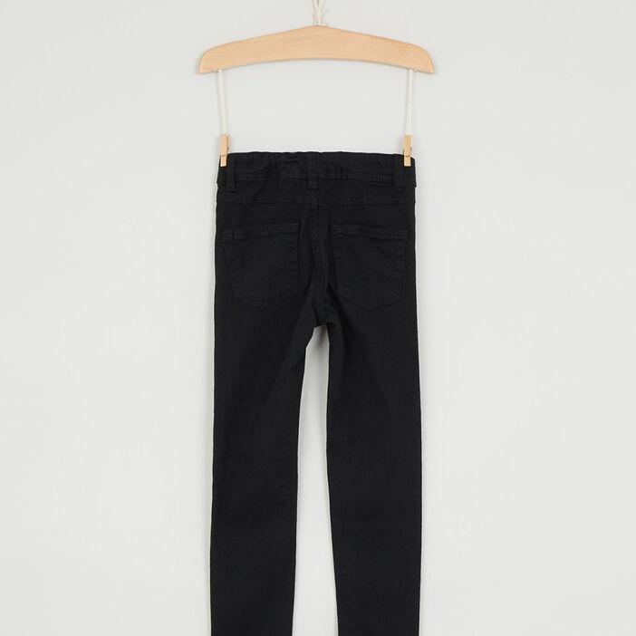 Pantalon uni coupe skinny fille noir