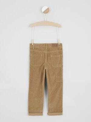 Pantalon en velours cotele uni camel garcon