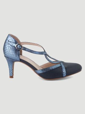 Escarpins bride boucle talon aiguilles bleu femme
