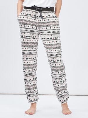 Pantalon de pyjama polaire coordonnable gris femme